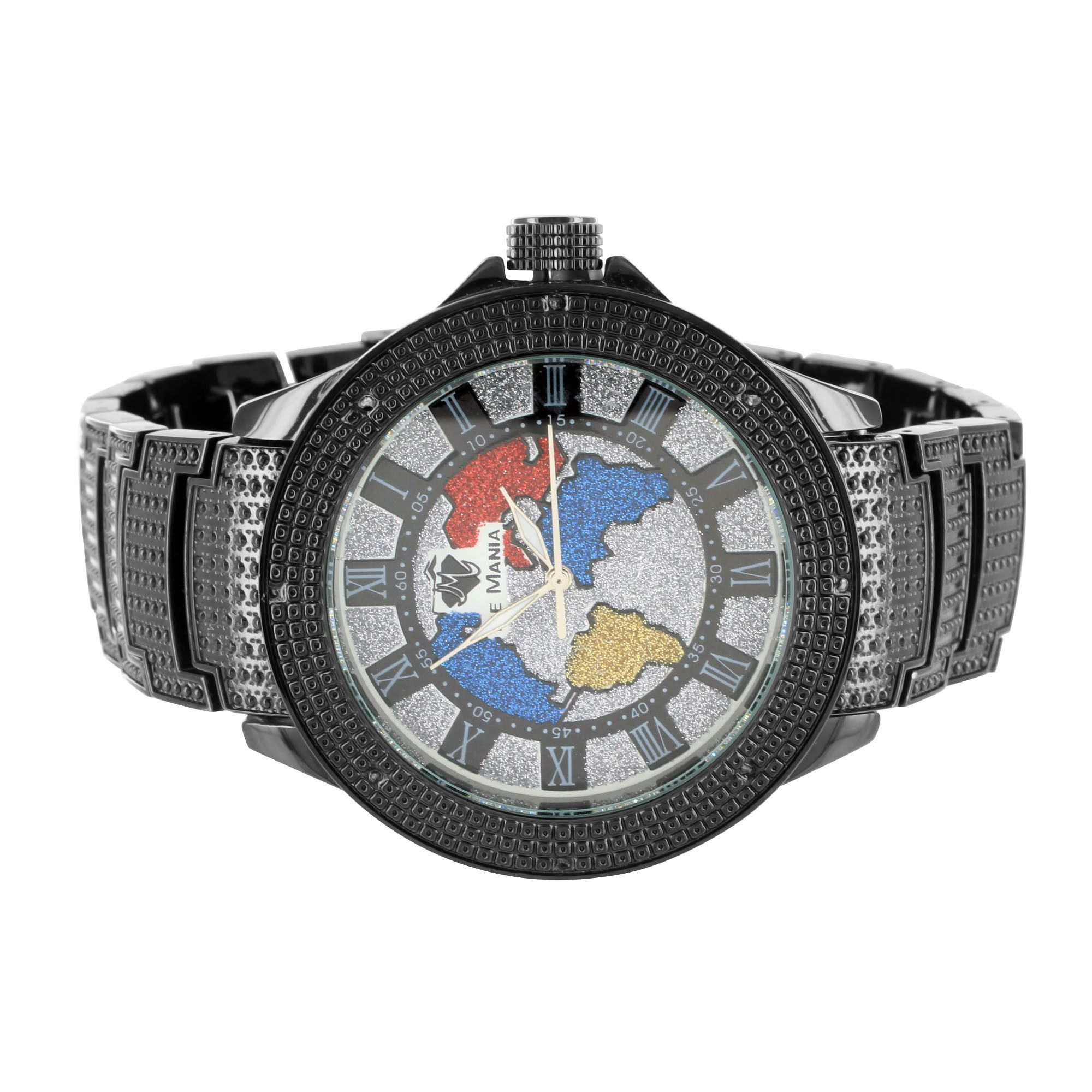 World map globe style multi color dial black gold finish ice mania world map globe style multi color dial black gold finish ice mania diamond watch gumiabroncs Gallery
