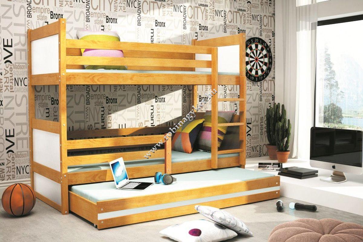 RICSI 3 (200x90) FENYŐ EMELETES ÁGY MATRACCAL,VENDÉG ÁGGYAL, Robi Bútor Nagykereskedés Webáruház - bútor, akciós bútor, konyhabútor, bababútor, szekrénysor, sarokgarnitúra, kanapé, ülőgarnitúra, hálószoba bútor