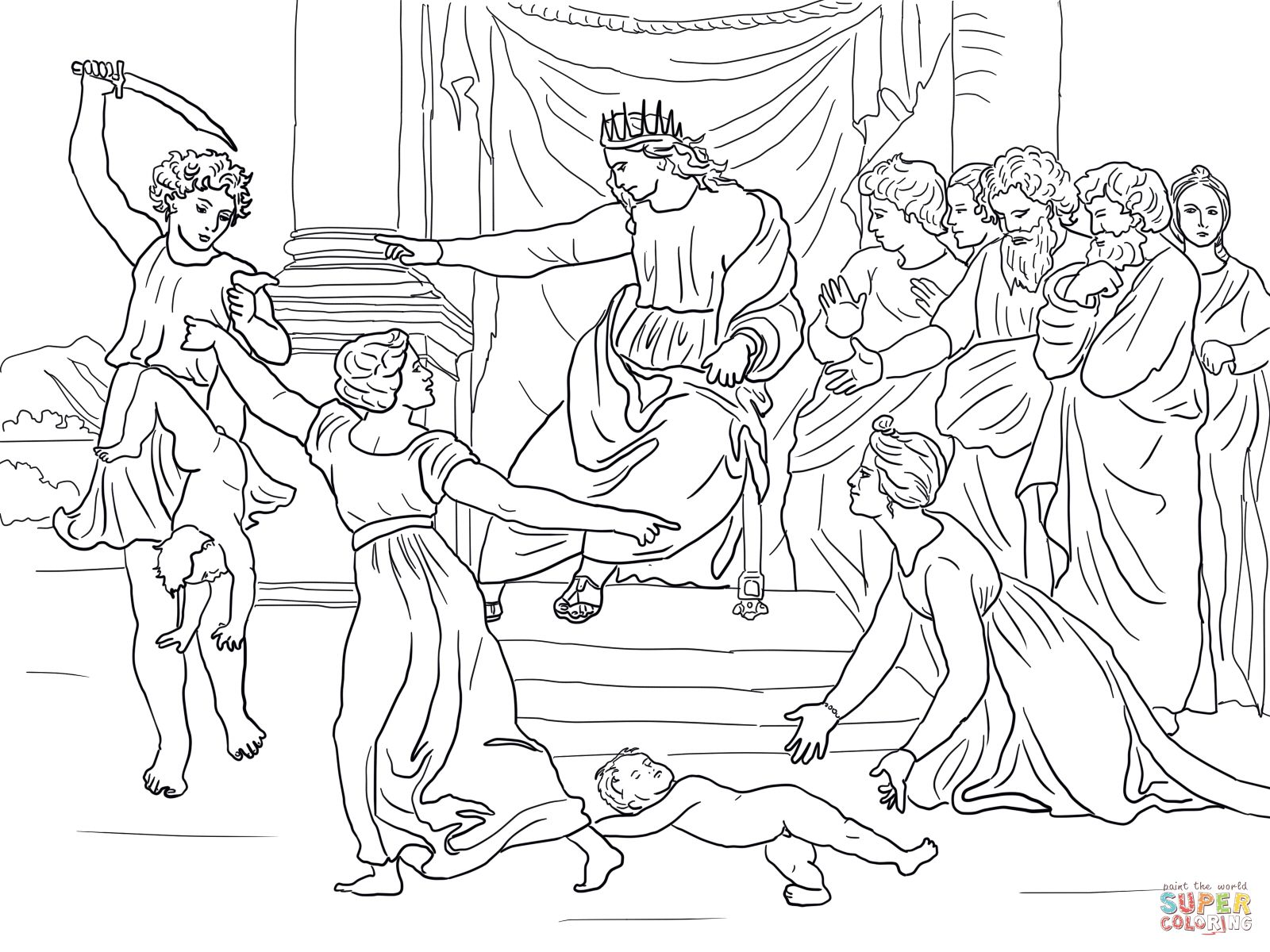 judgment of solomon coloring page supercoloring