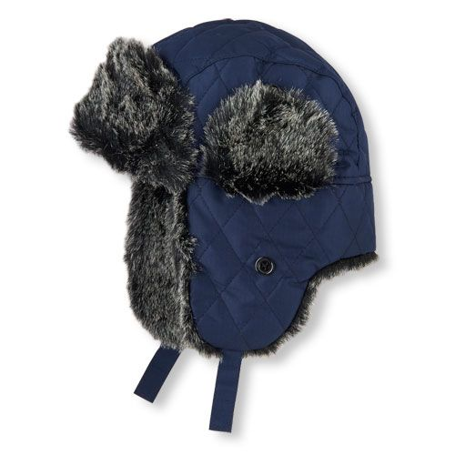 1351559cc Boys Boys Faux Fur-Lined Quilted Trapper Hat - Blue - The Children's ...