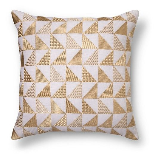 Metallic Triangle Throw Pillow Gold Xhilaration Tan Spot Delectable How To Clean Decorative Pillows