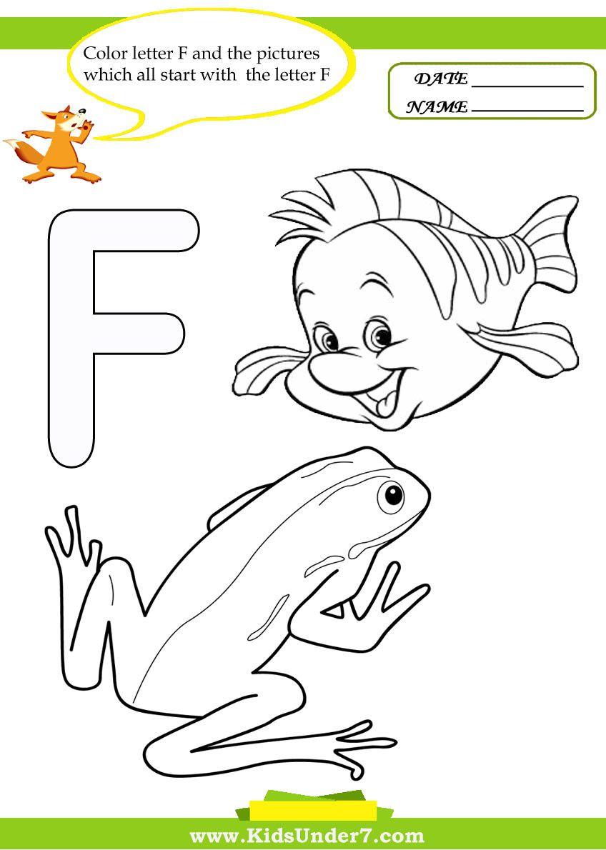 Letter F Worksheets For Kindergarten Alphabet Worksheets Kindergarten Alphabet Coloring Pages Letter F [ 1190 x 848 Pixel ]