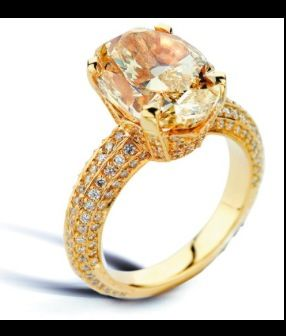 Dream ring! Yellow gold with a champagne diamond center stone!