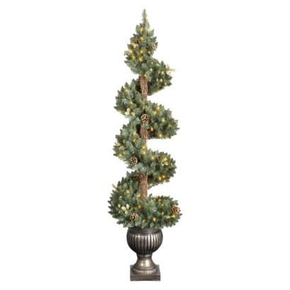 5' Pre-Lit Spiral Pine Potted Porch Tree - Clear Lights = might come indoors this year ♥