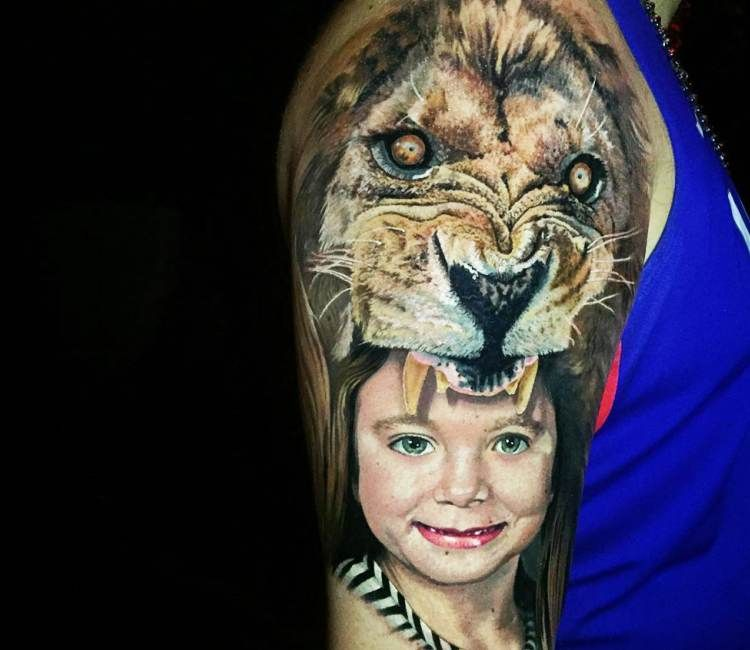 Lion Child Tattoo By Steve Butcher Tattoos For Kids Tattoos Human Canvas