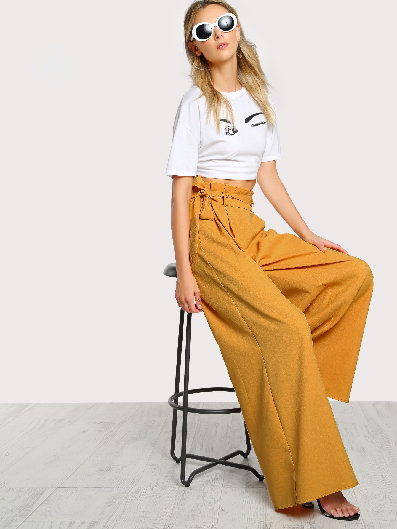 9815a8ab30b0 Shop Frill Waist Belted Palazzo Pants online. SheIn offers Frill Waist  Belted Palazzo Pants & more to fit your fashionable needs.
