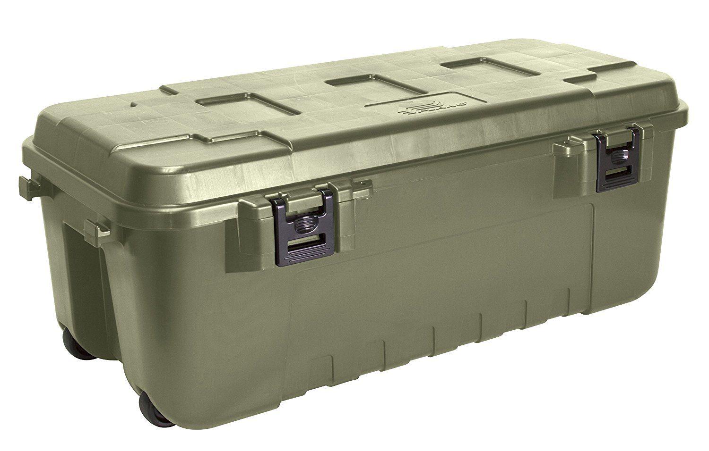plano - baule militare resistente, colore: verde oliva: amazon.it