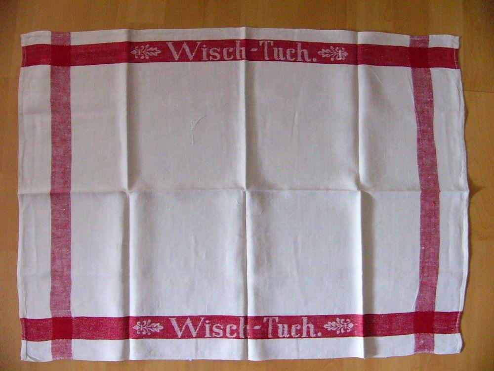 Wischtuch Leinen uralt roter Rand eingewebt rot Küche - handtuchhalter für küche