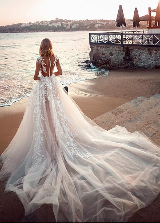 [248.80] Splendid Tulle Jewel Neckline A-ligne robes de mariée avec des appliques de dentelle – magbridal.com.cn   – Wedding Jewelry and Accessories