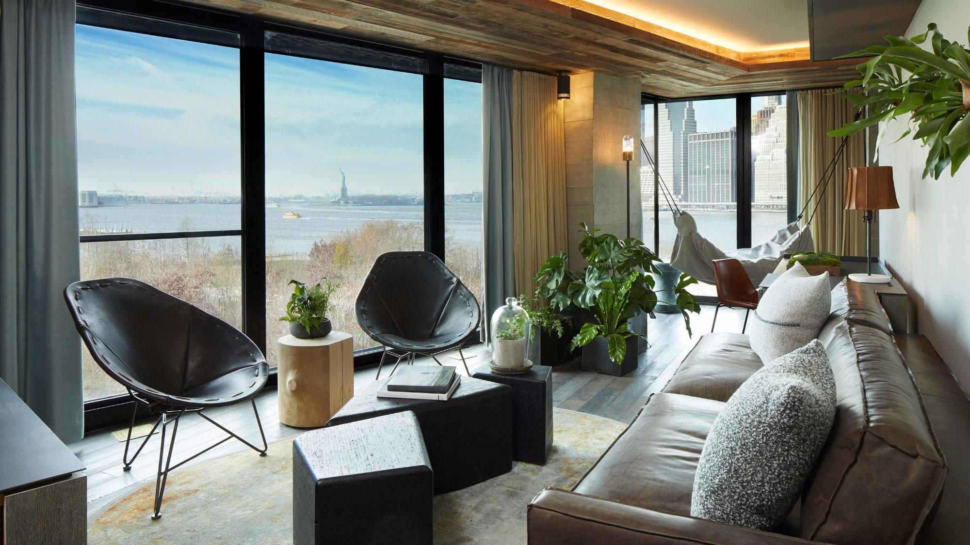 1 Hotel In Brooklyn With A View To The Statue Of Liberty Statueofliberty Roomwithaview Guestroom 1hotel Luxury Hotels Nyc Brooklyn Hotels Brooklyn Bridge