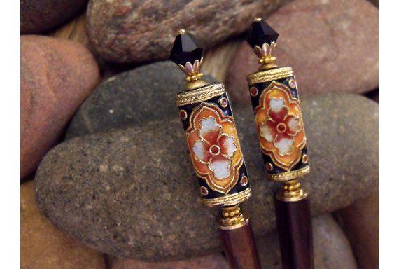 India Princess Noir Hairsticks  Ornate Arabesque by BarefootMaiden