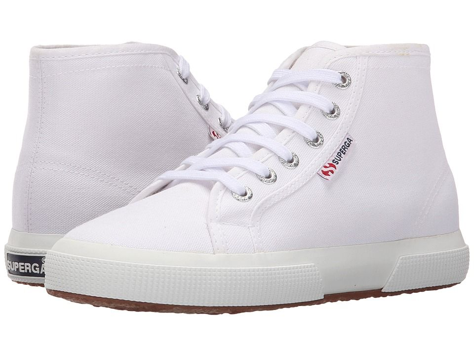 Superga white high top lace up trainers