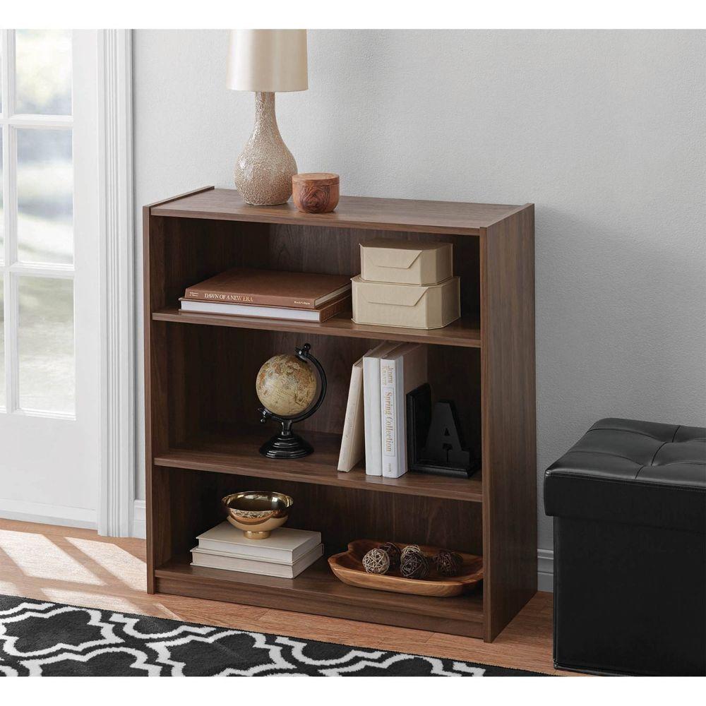3 Shelf Bookcase Wood Bookshelf Adjustable Storage Shelving Display Furniture Mainstays Modern Shelves Office Storage Furniture Wood Bookshelves