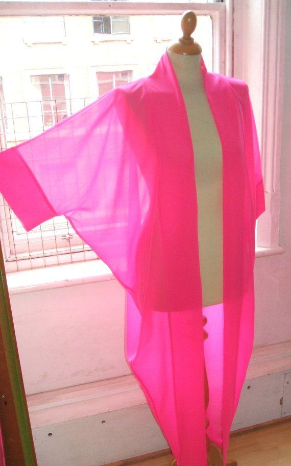 Baylis & Knight Hot Pink Chiffon LONG Maxi KIMONO Jacket Oversize ...