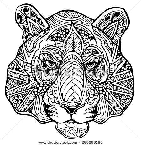 Tiger mandala coloring pages ~ zentangle tiger vector illustration - stock vector ...