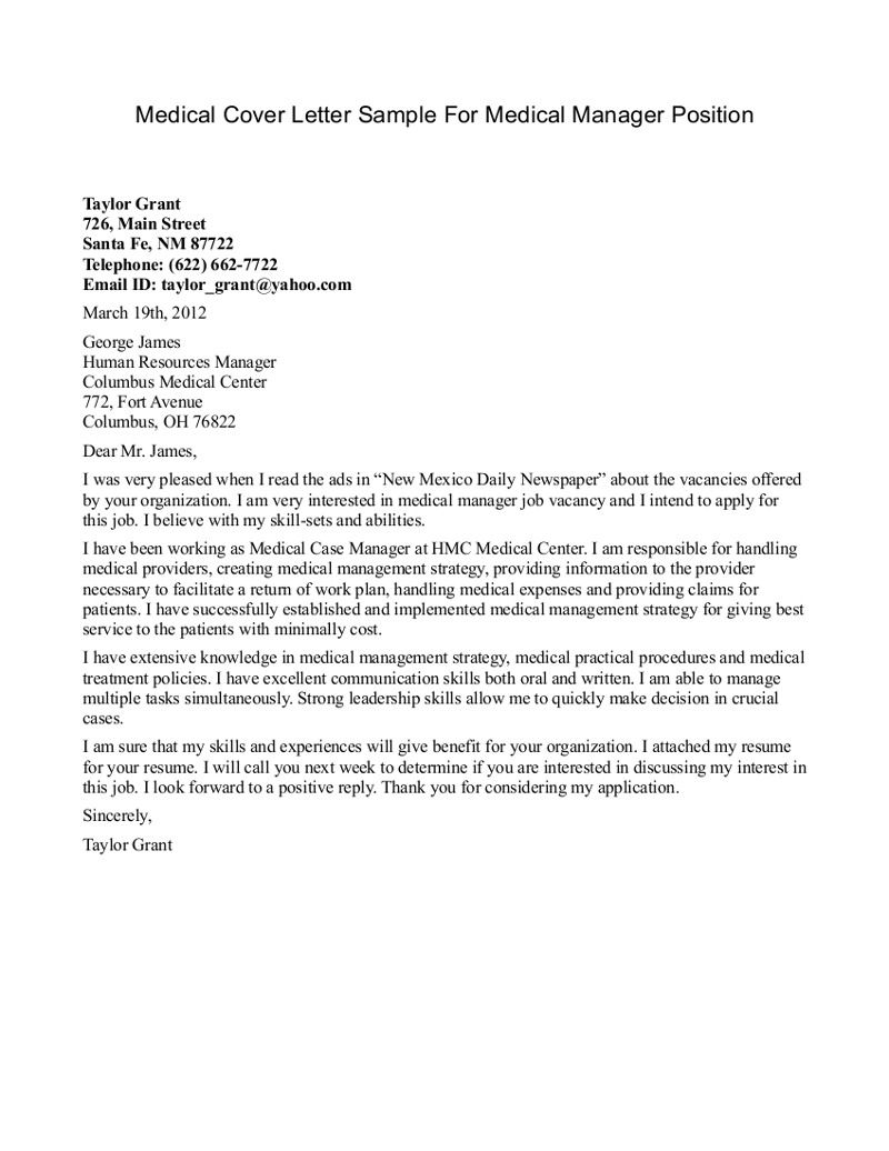 Examples Of Cover Letters Generally Department Manager Cover Letter Sample  Httpwwwresumecareer