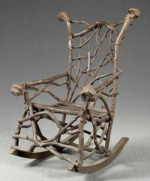 812: Folk art twig rocking chair, - Feb 22, 2004 | Brunk Auctions in NC