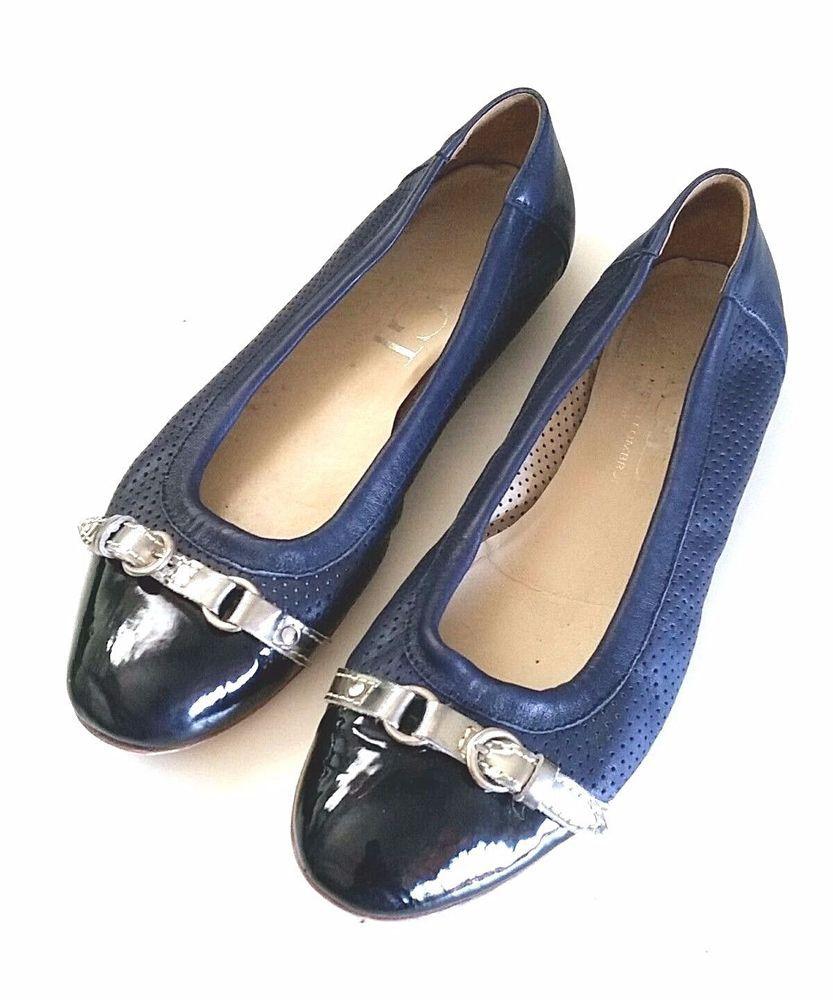 d50b323815 AGL ATTILIO GIUSTI LEOMBRUNI Cap Toe Black Navy Blue Ballet Flat 40.5 10.5  Perfo #AGL #BalletFlats #Casual
