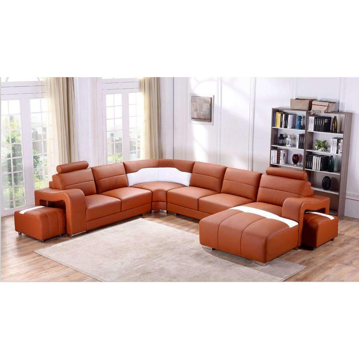 Orange Leather Sectional Sofa Coffee Tables Ideas
