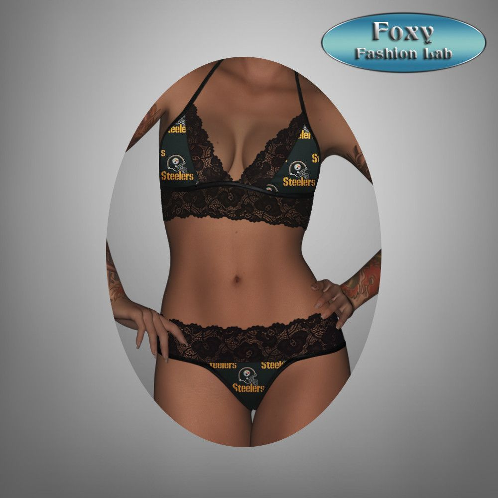 bb6110601 Pittsburgh Steelers sexy black lace top - matching gstring lingerie ...