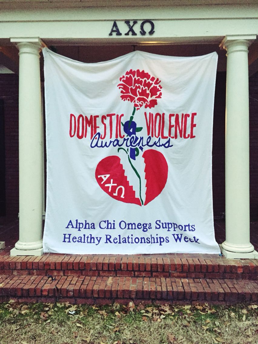 d49bacd4a75 Louisiana Tech Alpha Chi Omega Healthy Relationships week banner ...