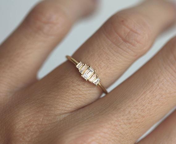 Art déco diamant bague de fiançailles, bague en diamant Artdeco Baguette, cinq Pierre bague de fiançailles