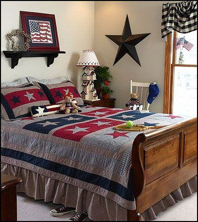 Primitive Americana Decorating Style   Folk Art   Heartland Decor   Rustic  Americana Home Decor   Colonial U0026 Country Style Decorating Americana Bedroom  ...