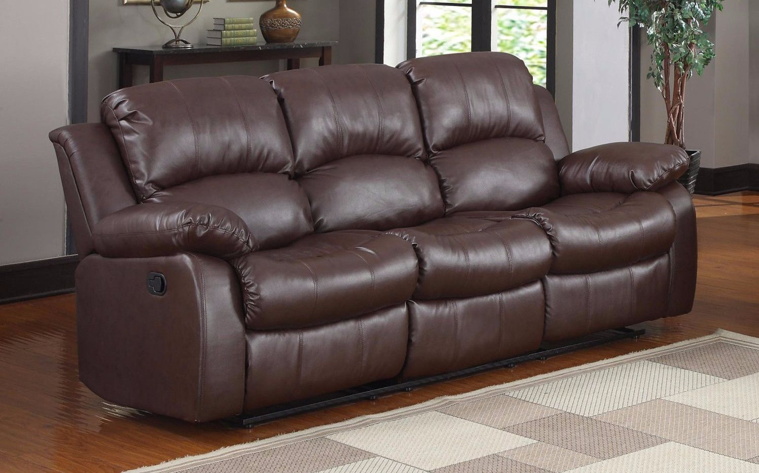 Oversize and overstuffed classic 3 seat bonded leather double recliner sofa brown