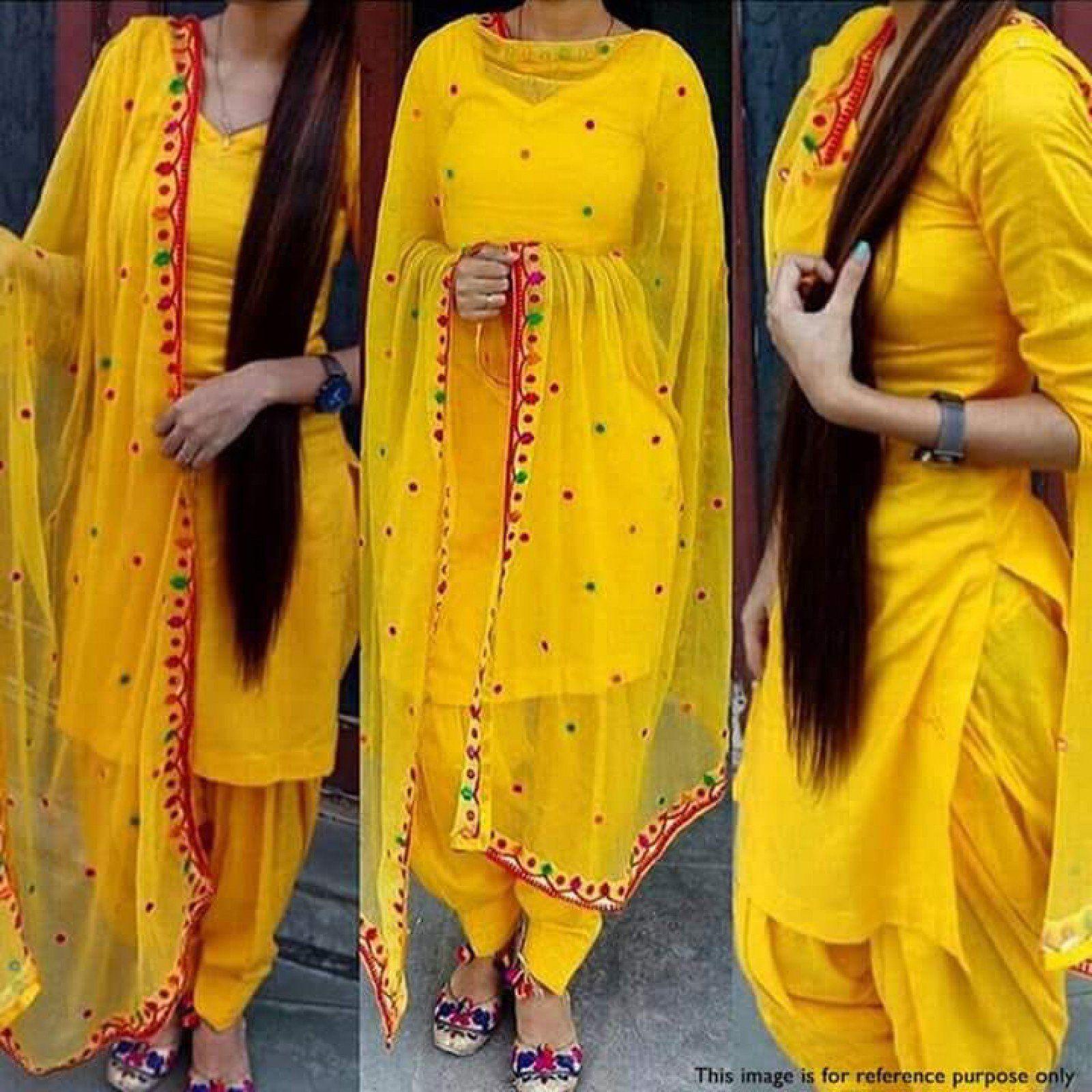 9556ce887b New yellow color pure cotton plain patiala suit unstitched material with  dupatta. #Patialasuit #Unstitchedsuit #Punjabisuit #Dressmaterial