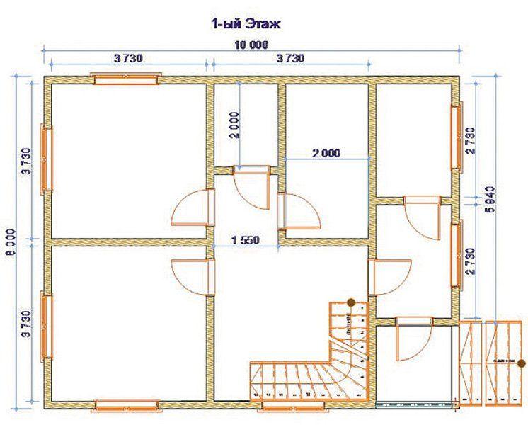 Dom2 8x8 S Verandoi 3 Floor Plans House Plans How To Plan