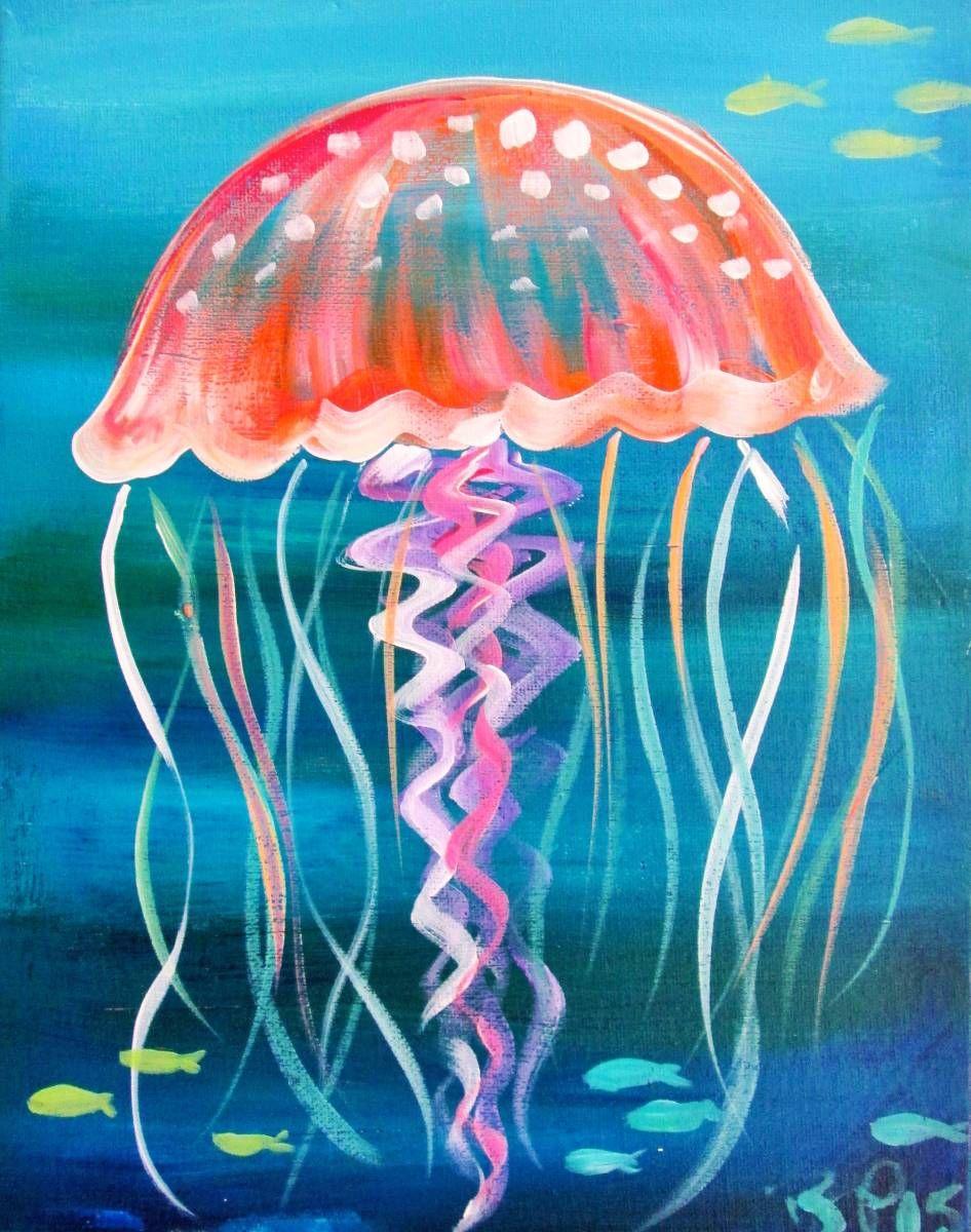 Mini Jelly   Jellyfish painting, Canvas painting diy ...