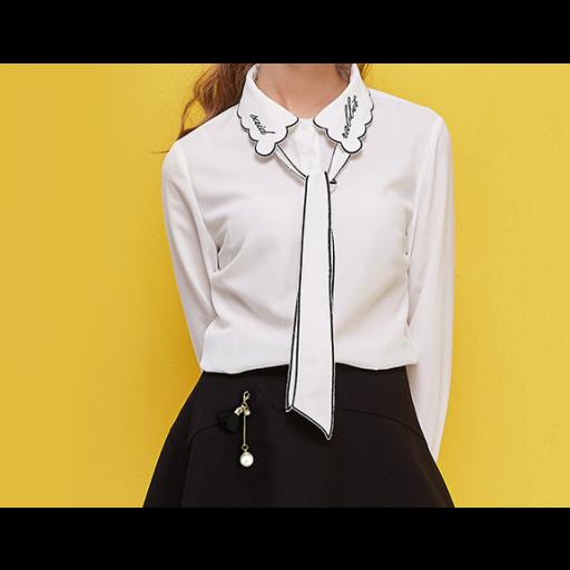 قميص ابيض للبنات بياقة متموجة وربطة عنق محددة White Collared Shirt Long Sleeve Blouse Collar Shirts