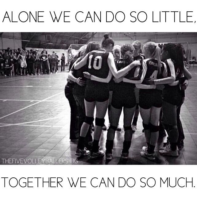 "Motivational Team Quotes Volleyball: ""Alone We Can Do So Little. Together We Can Do So Much"""
