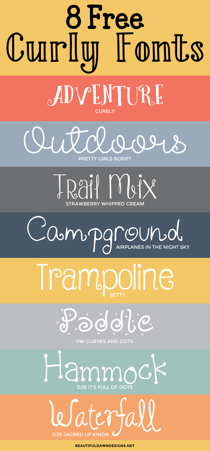 8 free curly fonts: font series - beautiful dawn designs