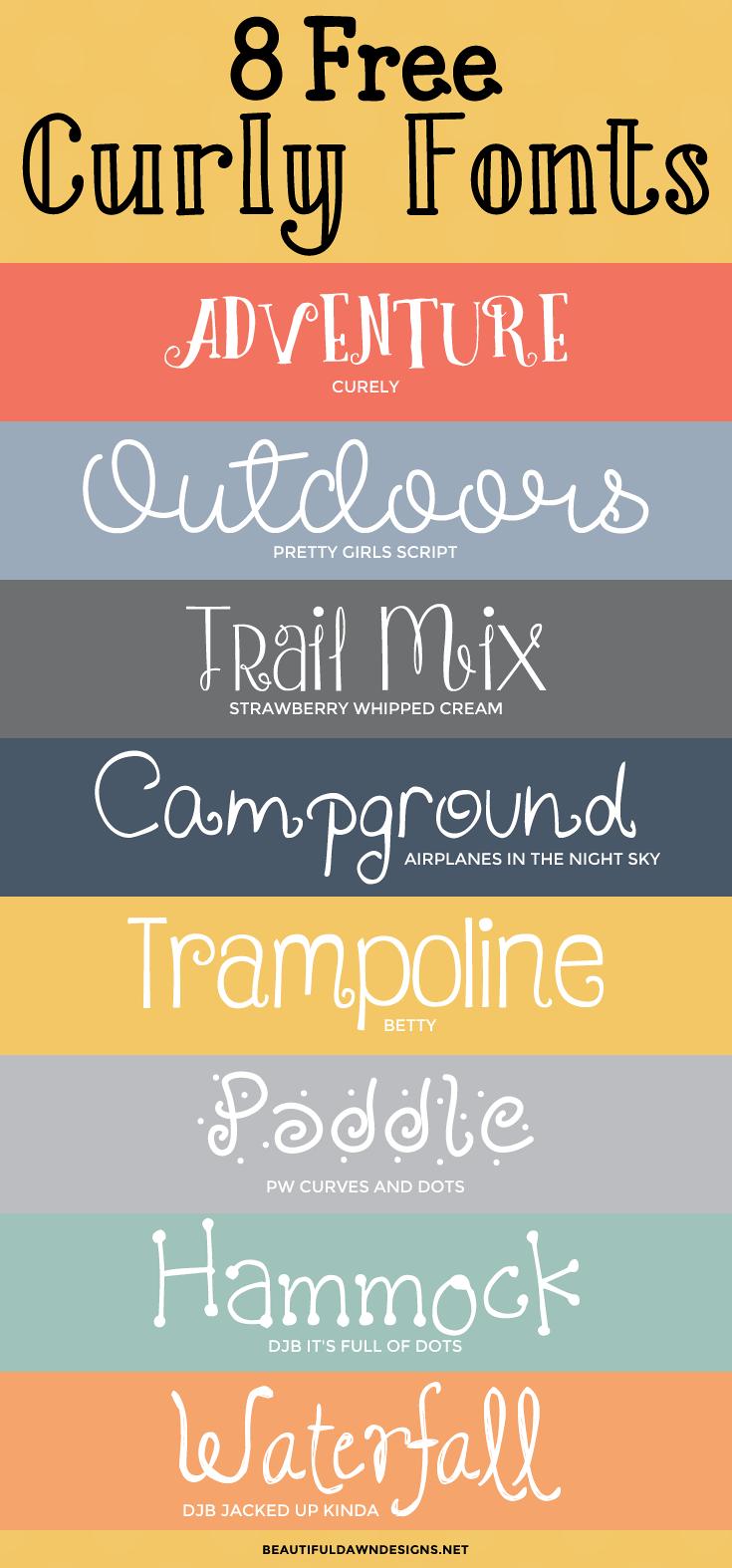 8 free curly fonts: font series - beautiful dawn designs