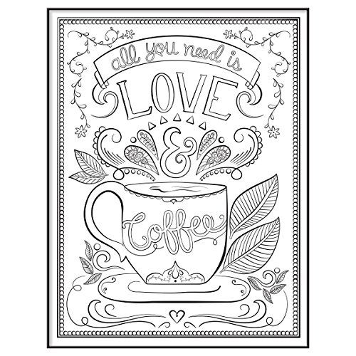 MCS Time Out Color In Framed Adult Coloring Page With Love Coffee Design