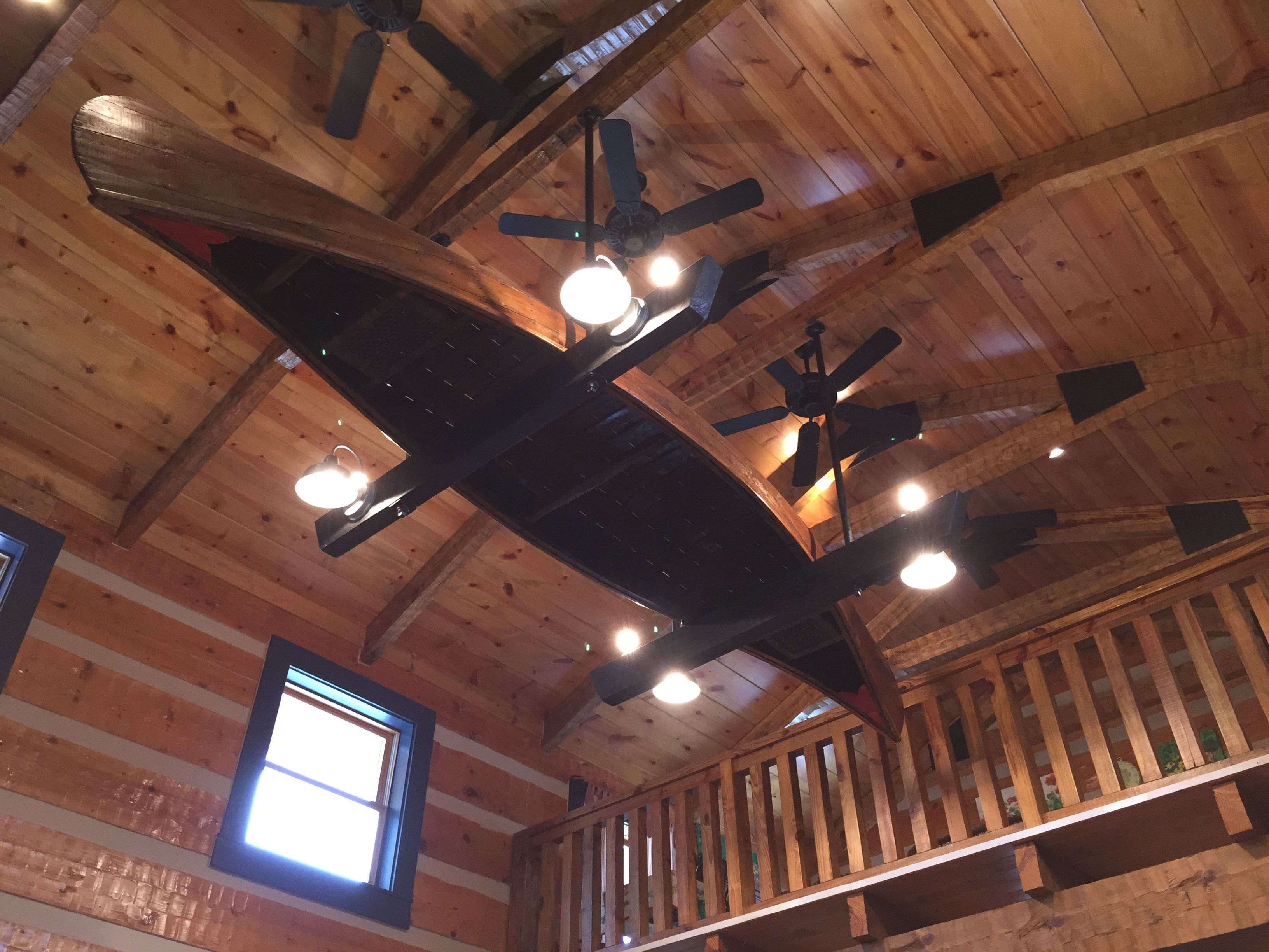 An Antique Canoe Turned Into A One Of Kind Light Fixture At Cur Listing
