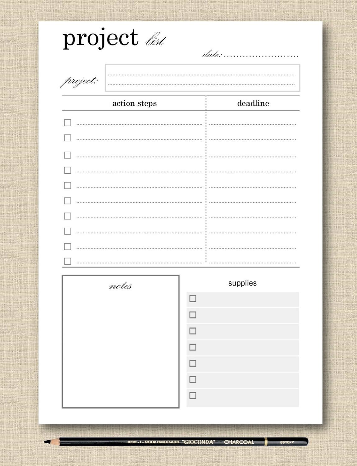 Life S Lists Printable Project Planner Planner Page Etsy Project Planner Planner Pages Printable Planner Project planning template for students