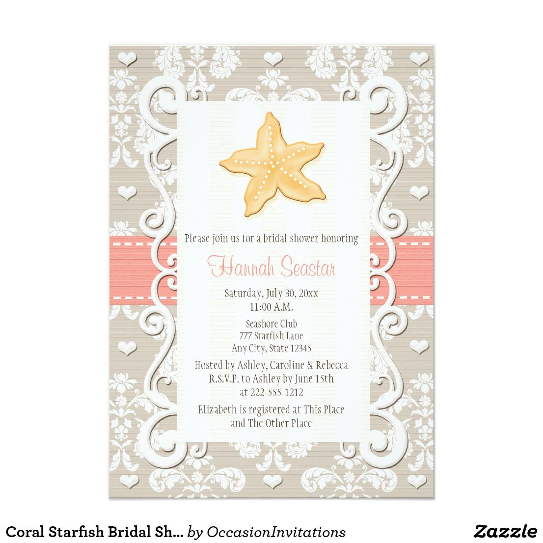 coral starfish bridal shower invitations pretty beach and nautical themed bridal shower invitations with a yellow starfish delicate swirl framed border and