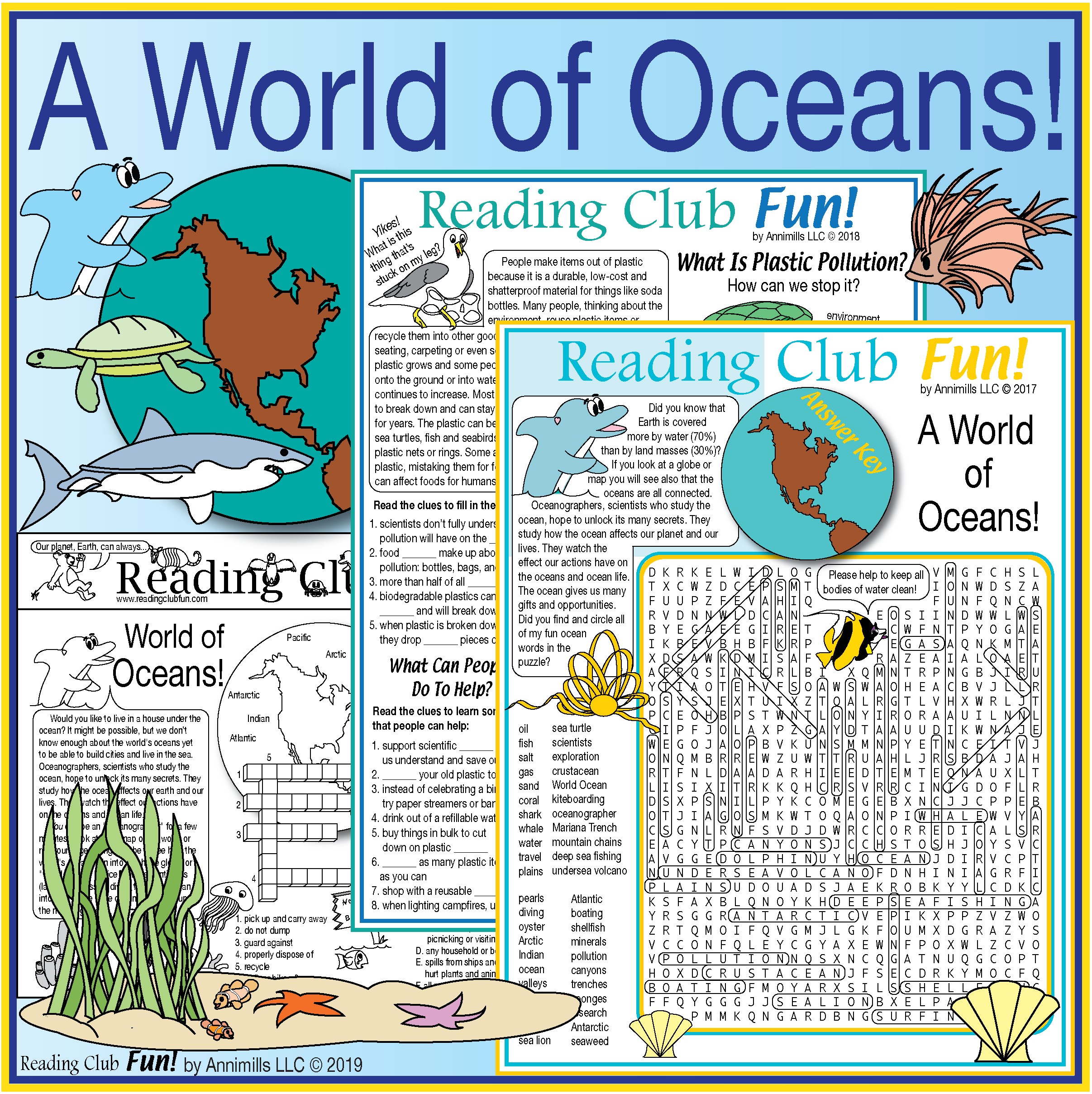 World Of Oceans Two Page Activity Set Word Search Amp Water