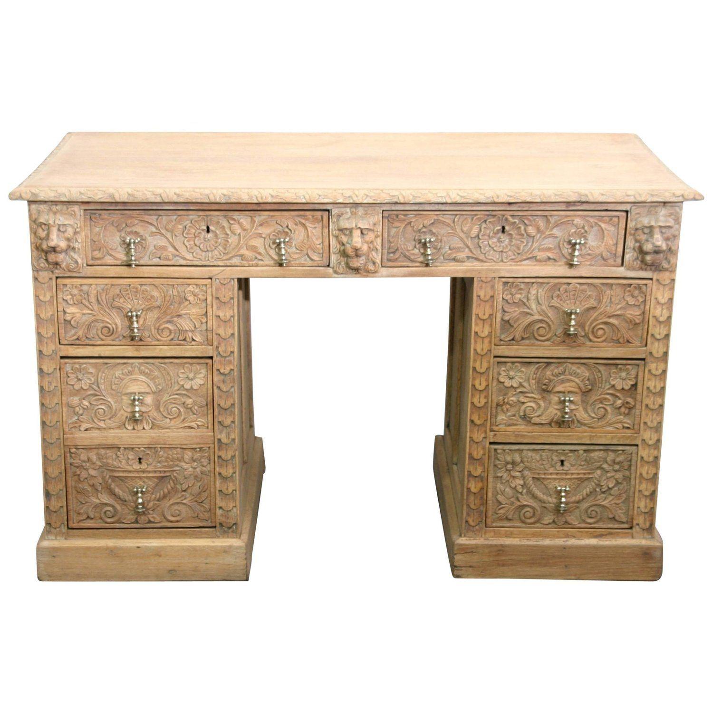 English 44th Century Hand-Carved Oak Desk  Oak desk, Desk, Cool