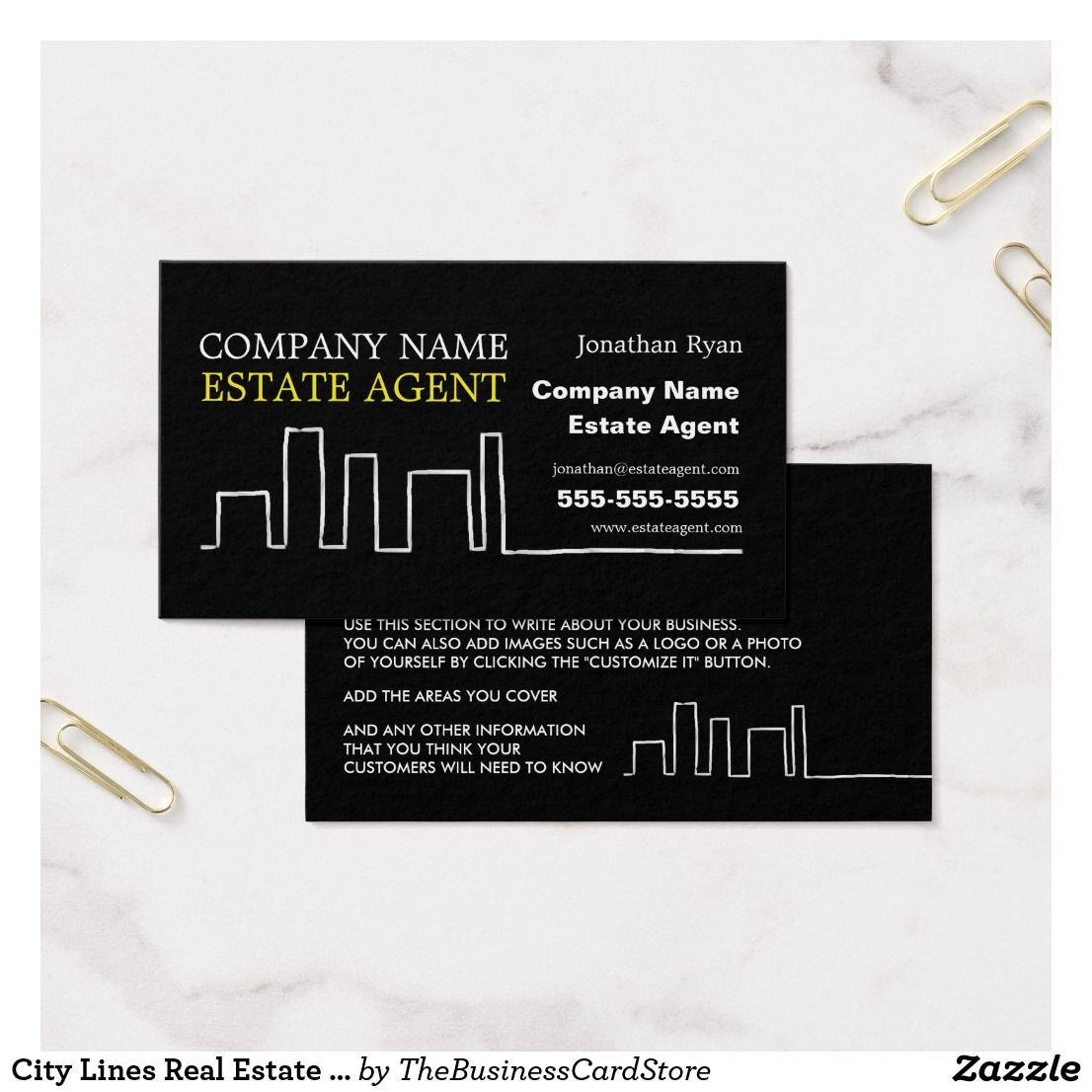 City Lines Real Estate Agent Estate Agent Business Card   Business ...