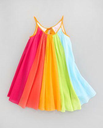 Summer Toddler Baby Girl Rainbow Sundress Holiday Beach Princess Party Tutu New