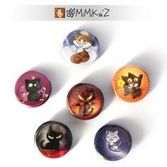 "Lot 6 badges ""Hellcats"" 32mm: hellcat, angelcat, psykocat, silvercat, blanche et loulou http://hellcats.mimikaweb.fr/"