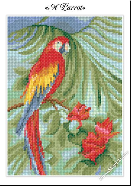 A Parrot Cross Stitch Pattern Pdf Instant Download Cross