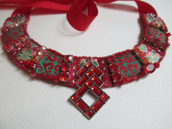 Bib Collar Statement Necklace Red Green Silver Tone by audreymivey