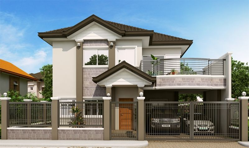 Double Story Elegant Filipino House Plan Floor Area 213 Square Meters Two Story House Design Modern Bungalow House Traditional House Plans