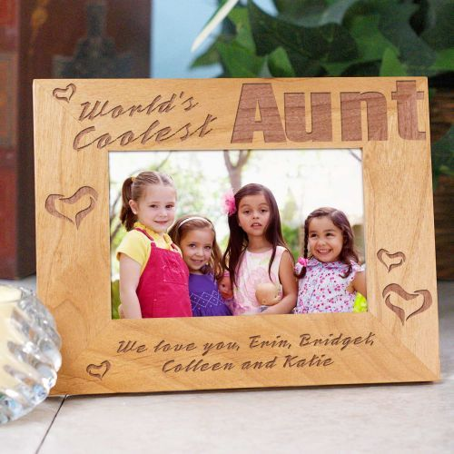 World\'s Coolest Aunt Personalized Wood Picture Frame   Aunt, Wood ...