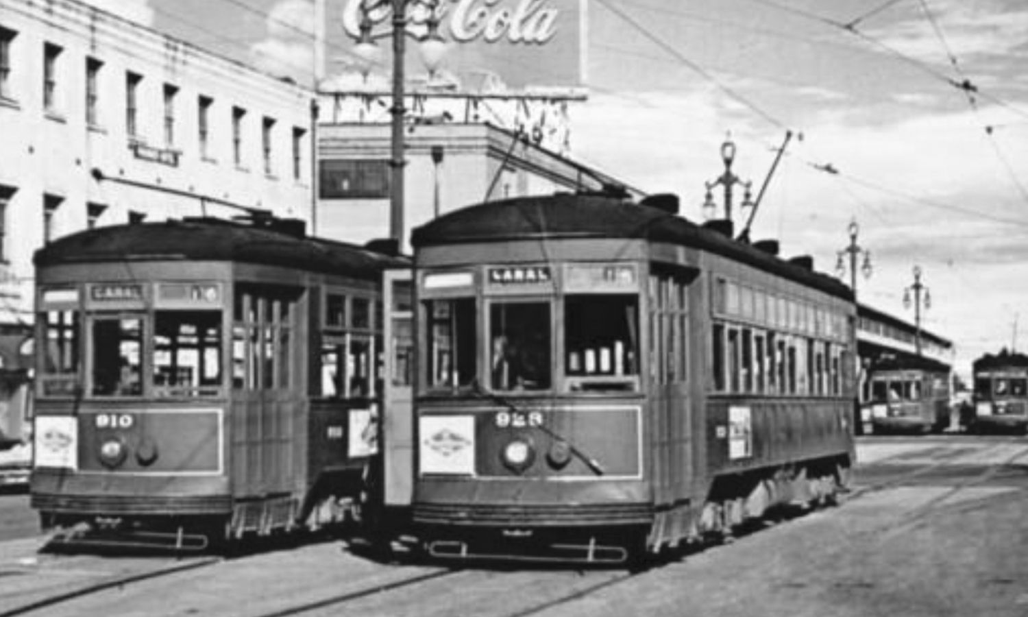 New Orleans streetcars on Canal Street around 1940
