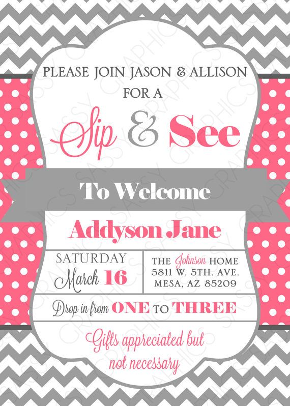 Sip See Baby Shower Invitation Pink Gray Chevron
